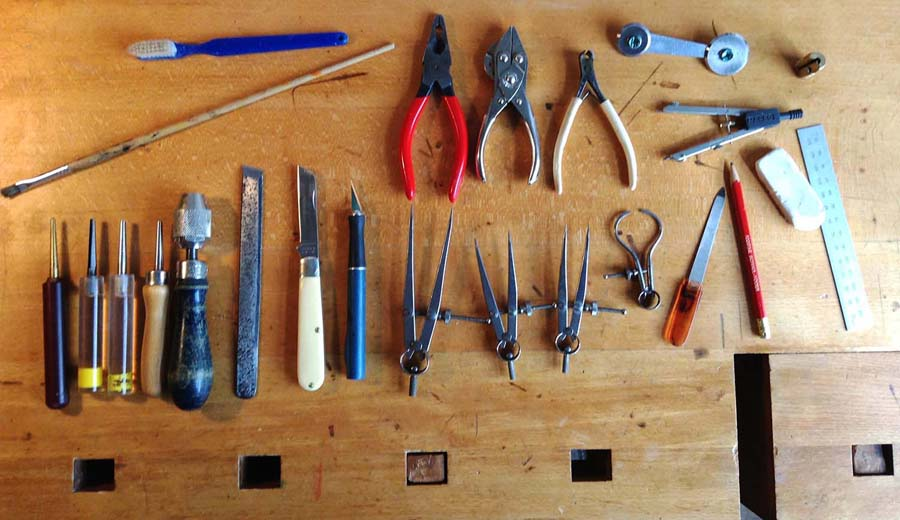 Bassoon reedmaking tools and workbench